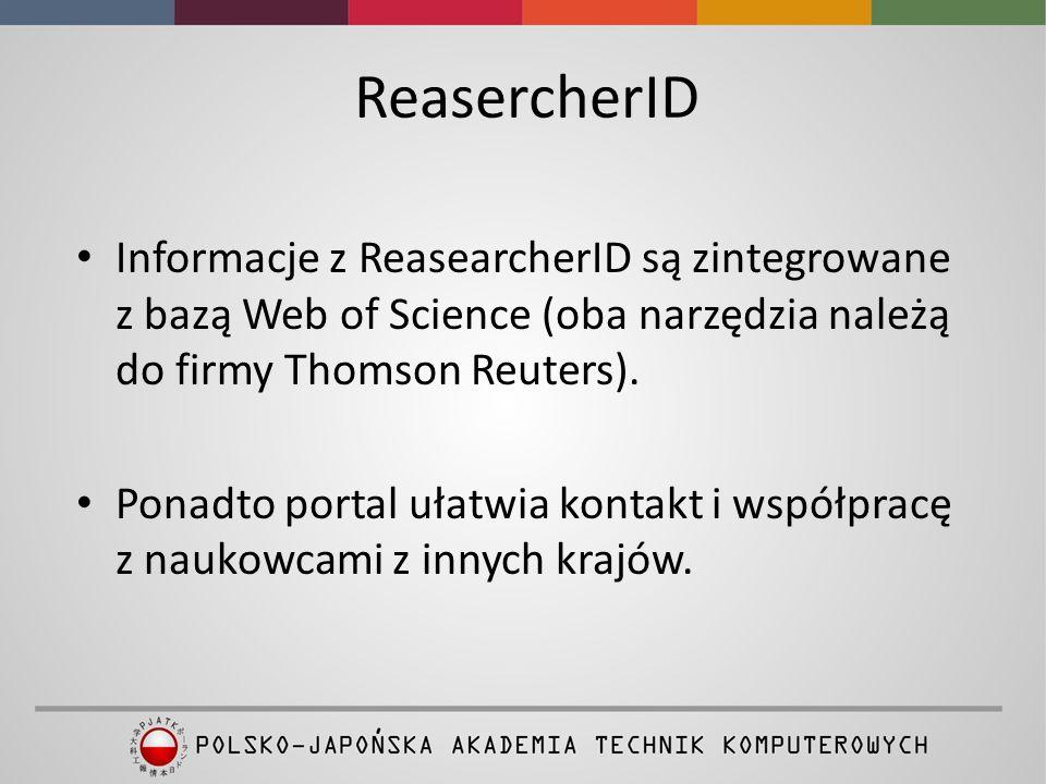 Dostęp do ResearcherID z platformy Web of Science
