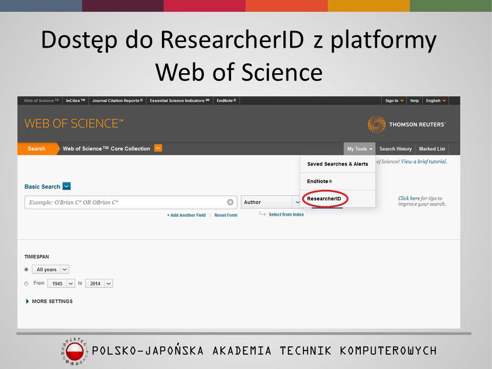 """Zakładanie konta www.researcherid.com Osoby, które posiadają konto w Web of Science logują się do ResearcherID za pomocą loginu z WoS Pozostali autorzy muszą założyć indywidualne konto klikając w """"Join Now It's Free .Join Now It's Free Film instruktażowy"""