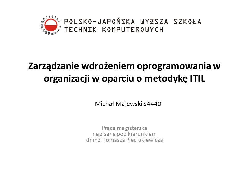 Zarządzanie wdrożeniem oprogramowania w organizacji w oparciu o metodykę ITIL Praca magisterska napisana pod kierunkiem dr inż. Tomasza Pieciukiewicza