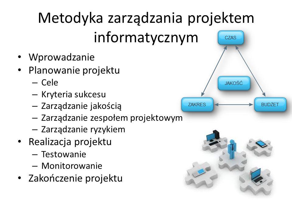 Metodyka zarządzania projektem informatycznym Wprowadzanie Planowanie projektu – Cele – Kryteria sukcesu – Zarządzanie jakością – Zarządzanie zespołem