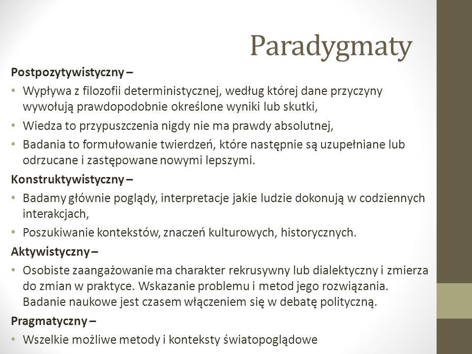 Paradygmaty Postpozytywistyczny – Wypływa z filozofii deterministycznej, według której dane przyczyny wywołują prawdopodobnie określone wyniki lub sku