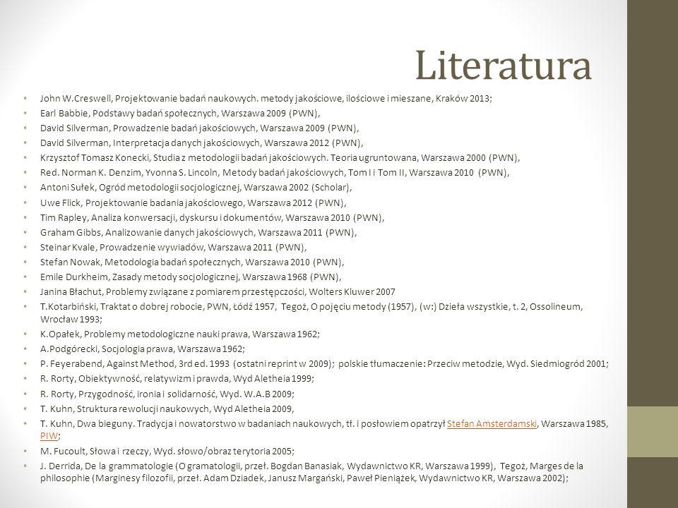 Literatura John W.Creswell, Projektowanie badań naukowych. metody jakościowe, ilościowe i mieszane, Kraków 2013; Earl Babbie, Podstawy badań społeczny