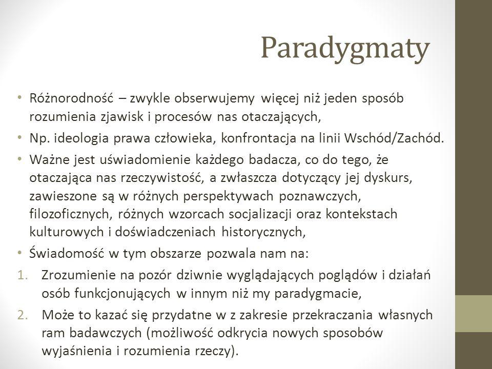 Paradygmaty Różnorodność – zwykle obserwujemy więcej niż jeden sposób rozumienia zjawisk i procesów nas otaczających, Np. ideologia prawa człowieka, k
