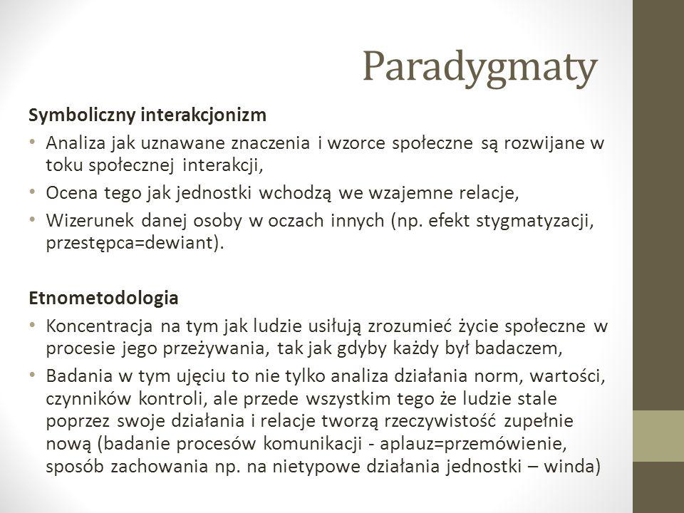 Paradygmaty Symboliczny interakcjonizm Analiza jak uznawane znaczenia i wzorce społeczne są rozwijane w toku społecznej interakcji, Ocena tego jak jed