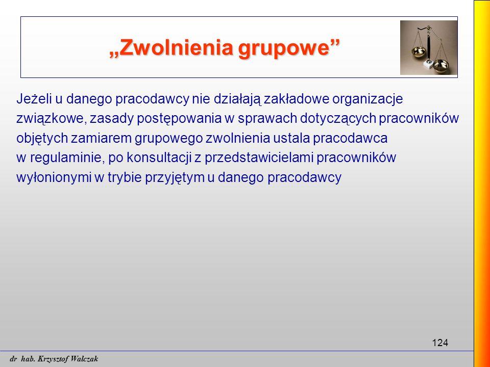 """124 """"Zwolnienia grupowe"""" Jeżeli u danego pracodawcy nie działają zakładowe organizacje związkowe, zasady postępowania w sprawach dotyczących pracownik"""