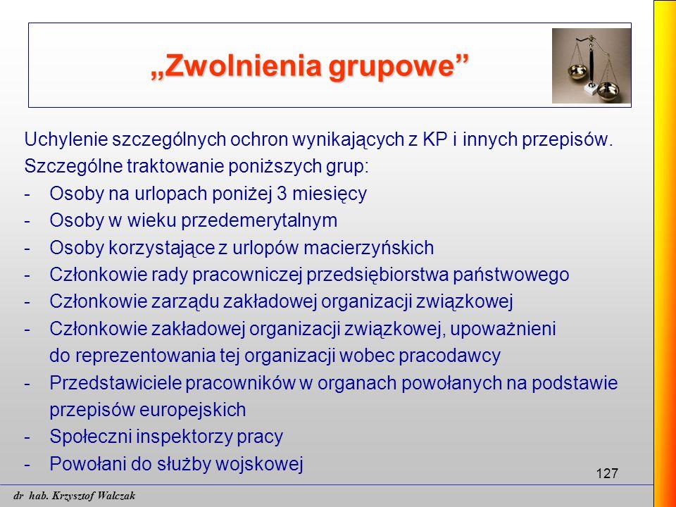 """127 """"Zwolnienia grupowe"""" Uchylenie szczególnych ochron wynikających z KP i innych przepisów. Szczególne traktowanie poniższych grup: - Osoby na urlopa"""