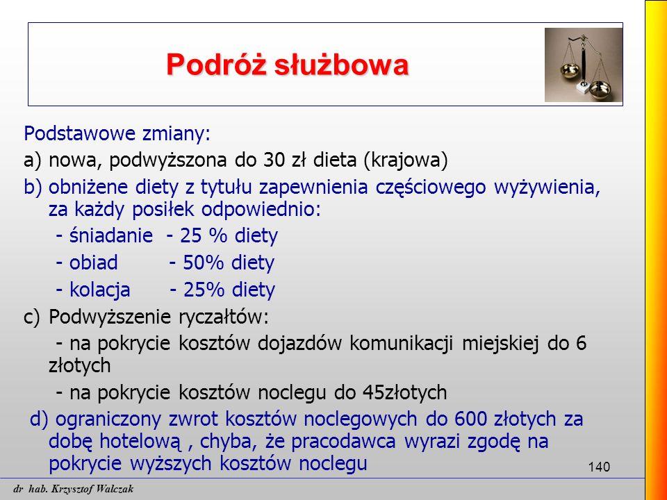 140 Podróż służbowa Podstawowe zmiany: a) nowa, podwyższona do 30 zł dieta (krajowa) b) obniżene diety z tytułu zapewnienia częściowego wyżywienia, za