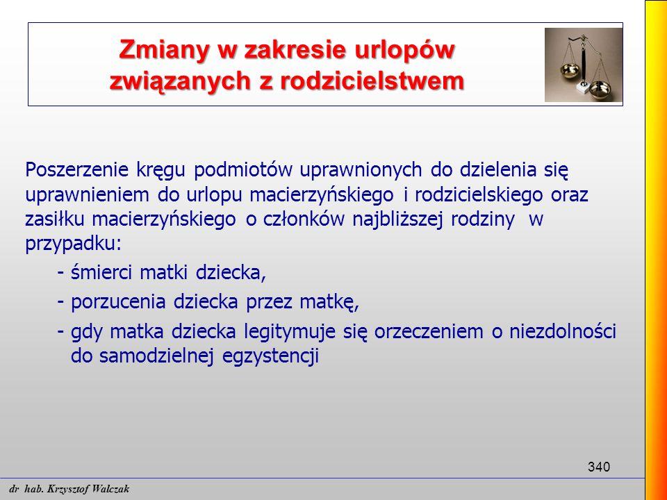 340 Poszerzenie kręgu podmiotów uprawnionych do dzielenia się uprawnieniem do urlopu macierzyńskiego i rodzicielskiego oraz zasiłku macierzyńskiego o