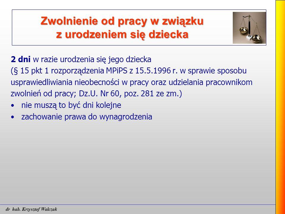 2 dni w razie urodzenia się jego dziecka (§ 15 pkt 1 rozporządzenia MPiPS z 15.5.1996 r. w sprawie sposobu usprawiedliwiania nieobecności w pracy oraz