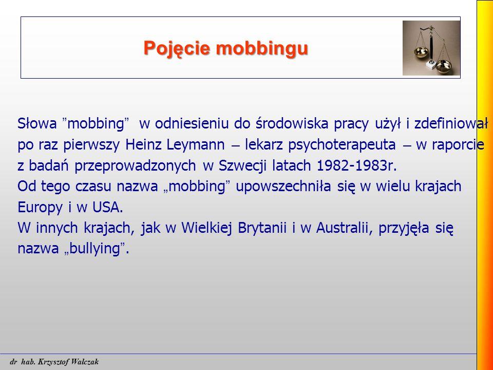 """Pojęcie mobbingu Słowa """" mobbing """" w odniesieniu do środowiska pracy użył i zdefiniował po raz pierwszy Heinz Leymann – lekarz psychoterapeuta – w rap"""