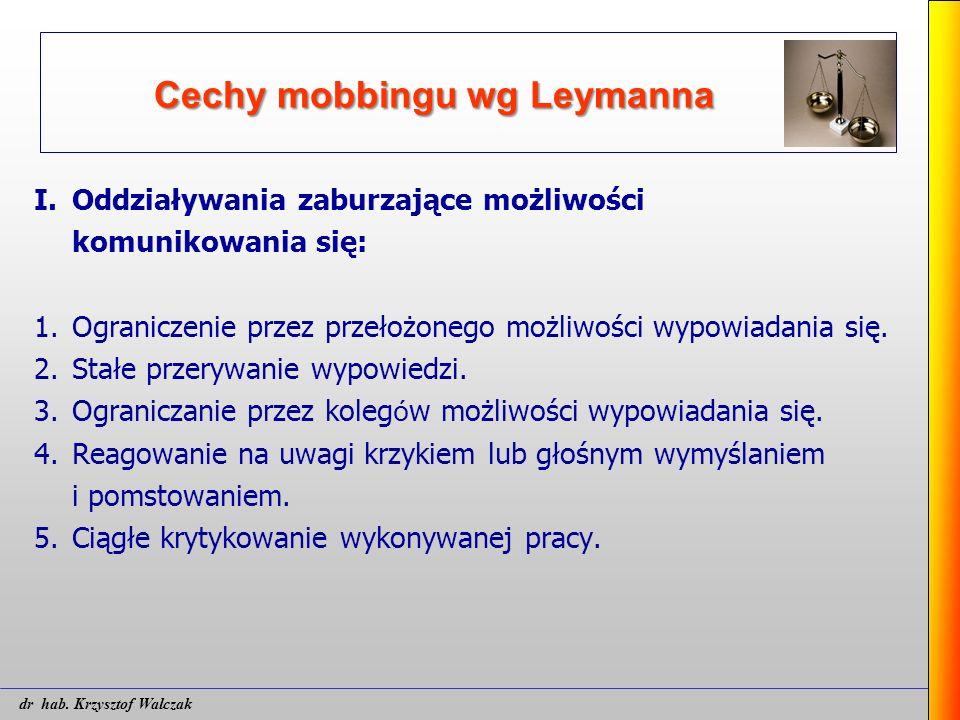 Cechy mobbingu wg Leymanna I.Oddziaływania zaburzające możliwości komunikowania się: 1.Ograniczenie przez przełożonego możliwości wypowiadania się. 2.