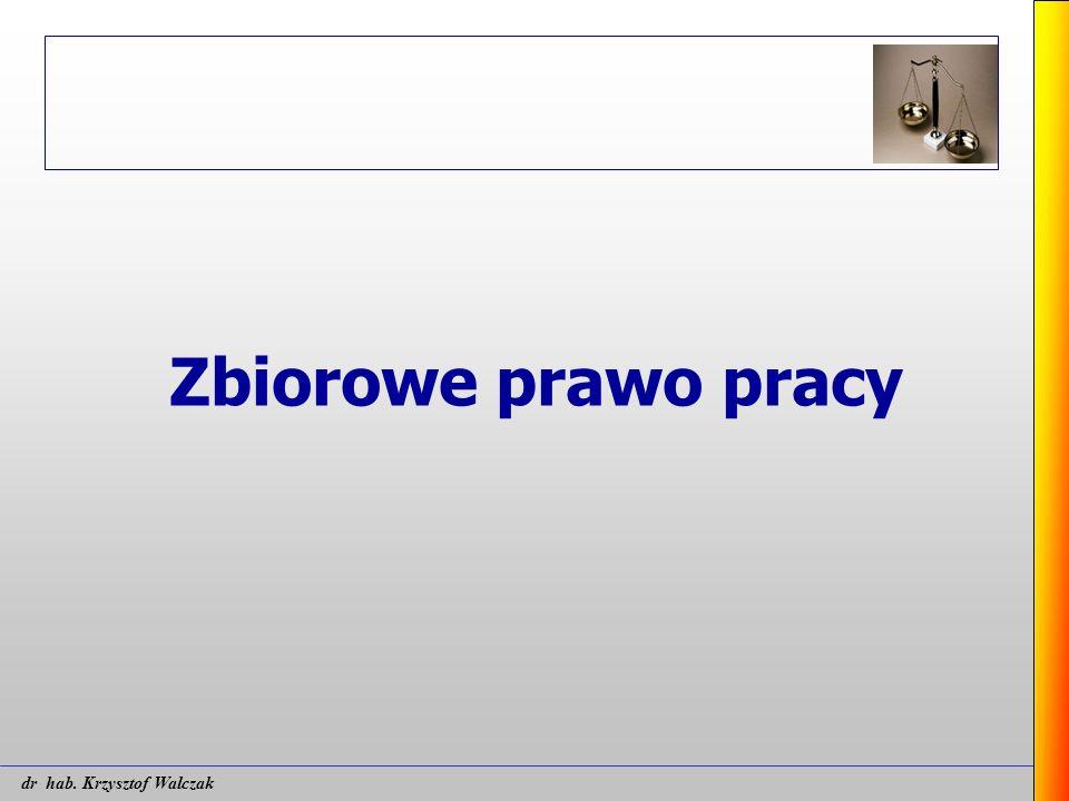 Zbiorowe prawo pracy dr hab. Krzysztof Walczak