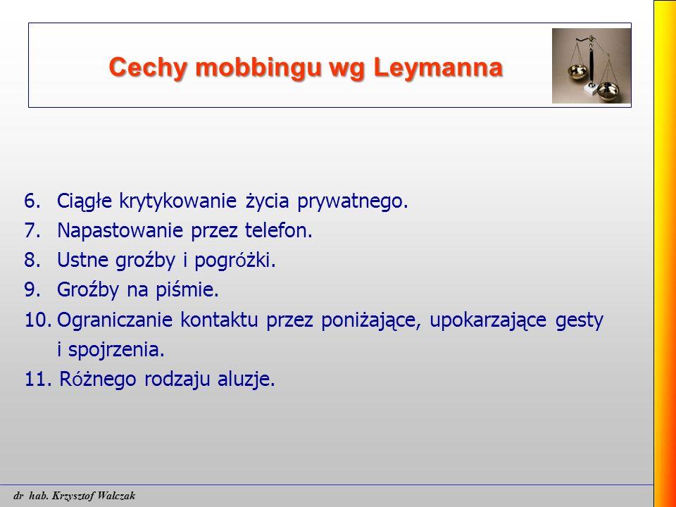 Cechy mobbingu wg Leymanna 6. Ciągłe krytykowanie życia prywatnego. 7. Napastowanie przez telefon. 8. Ustne groźby i pogr ó żki. 9. Groźby na piśmie.