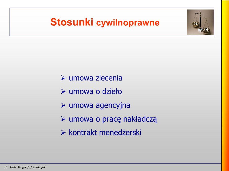 Stosunki cywilnoprawne  umowa zlecenia  umowa o dzieło  umowa agencyjna  umowa o pracę nakładczą  kontrakt menedżerski dr hab. Krzysztof Walczak
