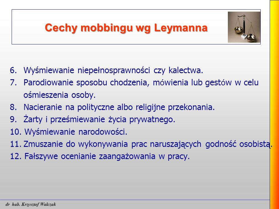 Cechy mobbingu wg Leymanna 6. Wyśmiewanie niepełnosprawności czy kalectwa. 7.Parodiowanie sposobu chodzenia, m ó wienia lub gest ó w w celu ośmieszeni