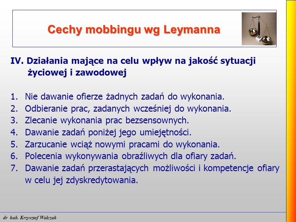 Cechy mobbingu wg Leymanna IV. Działania mające na celu wpływ na jakość sytuacji życiowej i zawodowej 1. Nie dawanie ofierze żadnych zadań do wykonani
