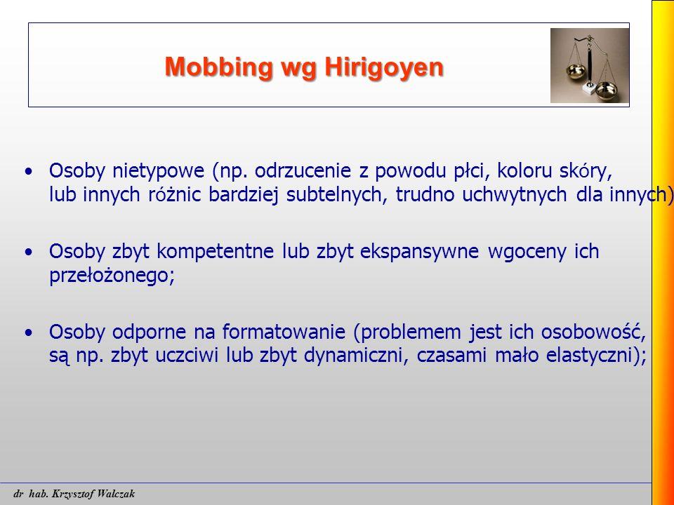 Mobbing wg Hirigoyen Osoby nietypowe (np. odrzucenie z powodu płci, koloru sk ó ry, lub innych r ó żnic bardziej subtelnych, trudno uchwytnych dla inn
