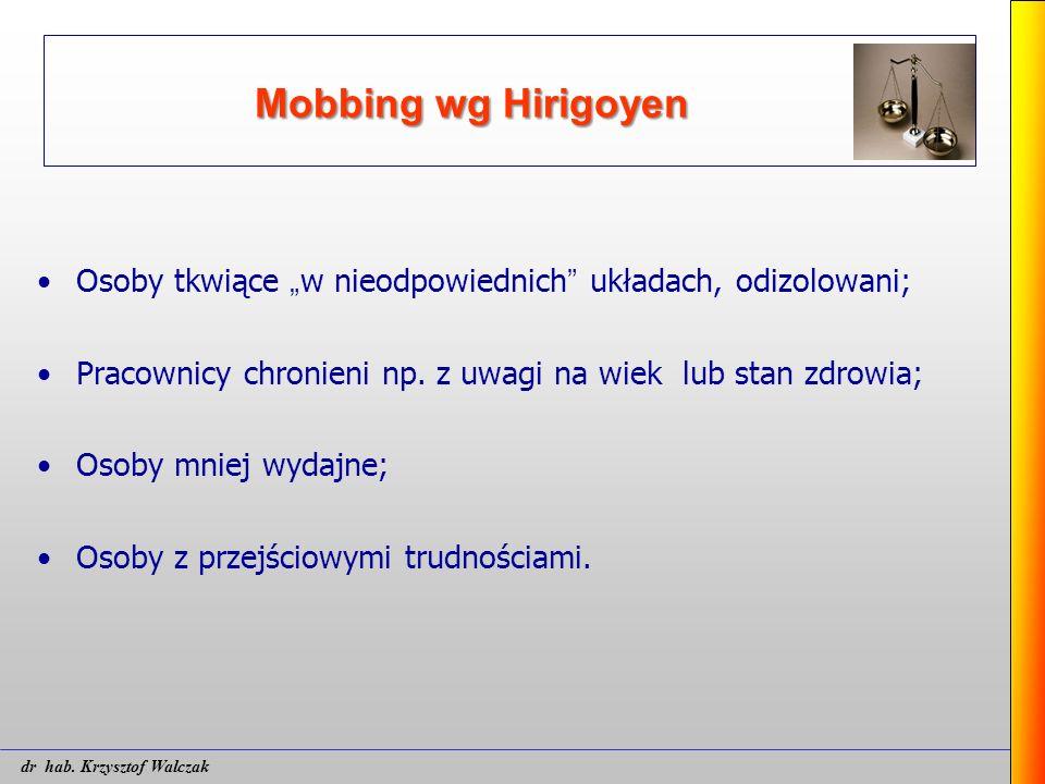 """Mobbing wg Hirigoyen Osoby tkwiące """" w nieodpowiednich """" układach, odizolowani; Pracownicy chronieni np. z uwagi na wiek lub stan zdrowia; Osoby mniej"""