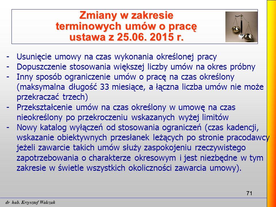 71 Zmiany w zakresie terminowych umów o pracę ustawa z 25.06. 2015 r. -Usunięcie umowy na czas wykonania określonej pracy -Dopuszczenie stosowania wię