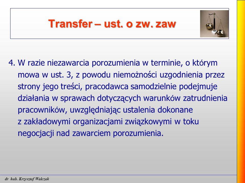 Transfer – ust. o zw. zaw 4. W razie niezawarcia porozumienia w terminie, o kt ó rym mowa w ust. 3, z powodu niemożności uzgodnienia przez strony jego