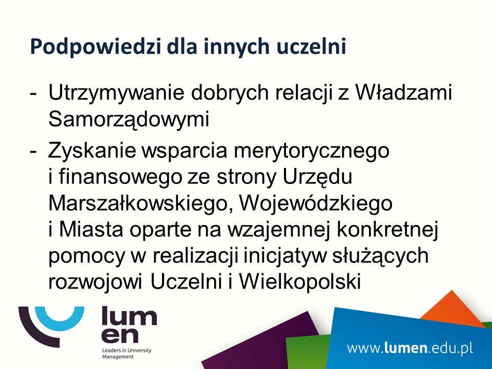 Podpowiedzi dla innych uczelni -Utrzymywanie dobrych relacji z Władzami Samorządowymi -Zyskanie wsparcia merytorycznego i finansowego ze strony Urzędu Marszałkowskiego, Wojewódzkiego i Miasta oparte na wzajemnej konkretnej pomocy w realizacji inicjatyw służących rozwojowi Uczelni i Wielkopolski