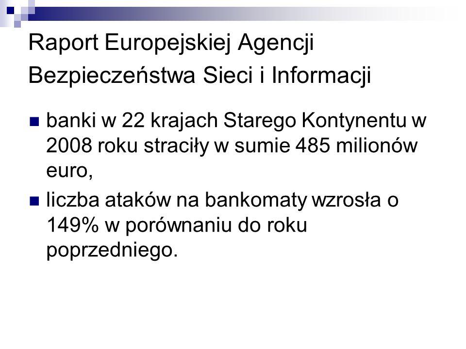 Raport Europejskiej Agencji Bezpieczeństwa Sieci i Informacji banki w 22 krajach Starego Kontynentu w 2008 roku straciły w sumie 485 milionów euro, liczba ataków na bankomaty wzrosła o 149% w porównaniu do roku poprzedniego.