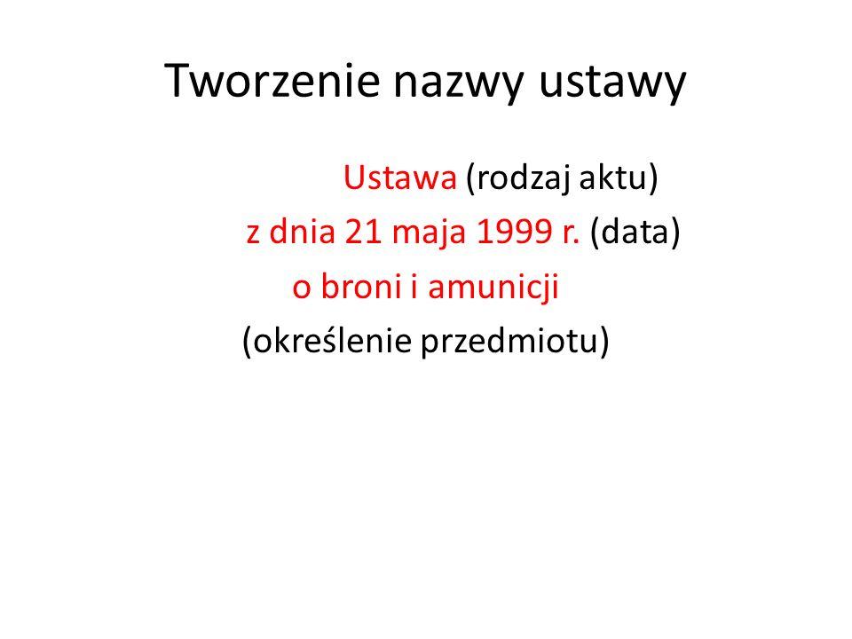 Tworzenie nazwy ustawy Ustawa (rodzaj aktu) z dnia 21 maja 1999 r.