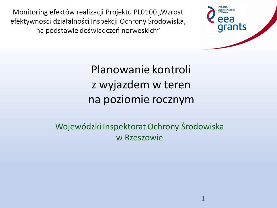 """Monitoring efektów realizacji Projektu PL0100 """"Wzrost efektywności działalności Inspekcji Ochrony Środowiska, na podstawie doświadczeń norweskich Wojewódzki Inspektorat Ochrony Środowiska w Rzeszowie Planowanie kontroli z wyjazdem w teren na poziomie rocznym 1"""