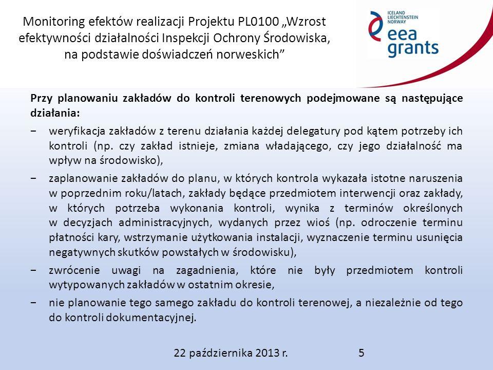"""Monitoring efektów realizacji Projektu PL0100 """"Wzrost efektywności działalności Inspekcji Ochrony Środowiska, na podstawie doświadczeń norweskich Przy planowaniu zakładów do kontroli terenowych podejmowane są następujące działania: −weryfikacja zakładów z terenu działania każdej delegatury pod kątem potrzeby ich kontroli (np."""