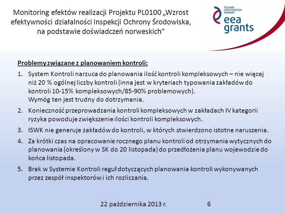 """Monitoring efektów realizacji Projektu PL0100 """"Wzrost efektywności działalności Inspekcji Ochrony Środowiska, na podstawie doświadczeń norweskich 22 października 2013 r.6 Problemy związane z planowaniem kontroli: 1.System Kontroli narzuca do planowania ilość kontroli kompleksowych – nie więcej niż 20 % ogólnej liczby kontroli (inna jest w kryteriach typowania zakładów do kontroli 10-15% kompleksowych/85-90% problemowych)."""