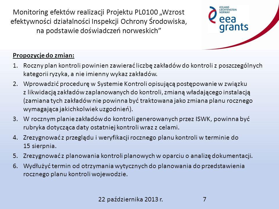 """Monitoring efektów realizacji Projektu PL0100 """"Wzrost efektywności działalności Inspekcji Ochrony Środowiska, na podstawie doświadczeń norweskich Propozycje do zmian: 1.Roczny plan kontroli powinien zawierać liczbę zakładów do kontroli z poszczególnych kategorii ryzyka, a nie imienny wykaz zakładów."""