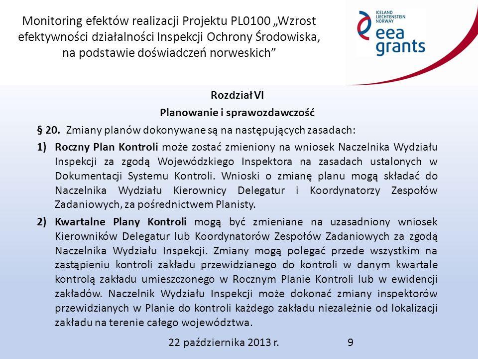 """Monitoring efektów realizacji Projektu PL0100 """"Wzrost efektywności działalności Inspekcji Ochrony Środowiska, na podstawie doświadczeń norweskich Rozdział VI Planowanie i sprawozdawczość § 20."""