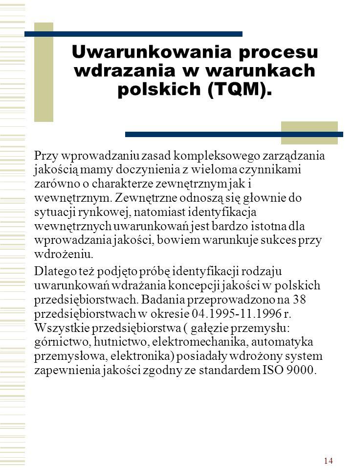 14 Uwarunkowania procesu wdrazania w warunkach polskich (TQM). Przy wprowadzaniu zasad kompleksowego zarządzania jakością mamy doczynienia z wieloma c