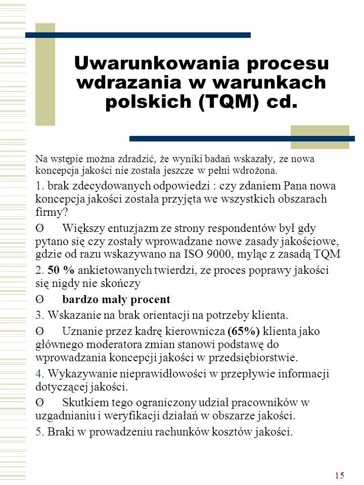 15 Uwarunkowania procesu wdrazania w warunkach polskich (TQM) cd. Na wstępie można zdradzić, że wyniki badań wskazały, ze nowa koncepcja jakości nie z