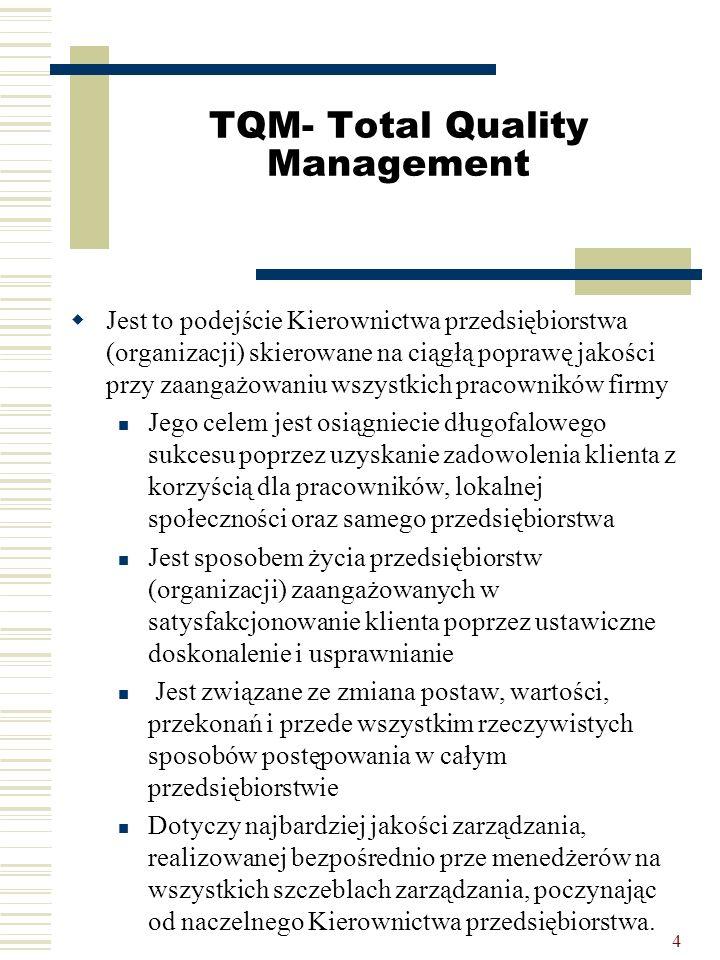 4 TQM- Total Quality Management  Jest to podejście Kierownictwa przedsiębiorstwa (organizacji) skierowane na ciągłą poprawę jakości przy zaangażowani