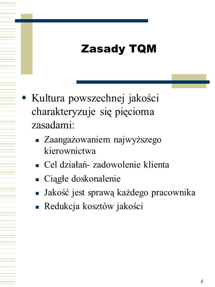 6 Zasady TQM  Kultura powszechnej jakości charakteryzuje się pięcioma zasadami: Zaangażowaniem najwyższego kierownictwa Cel działań- zadowolenie klie