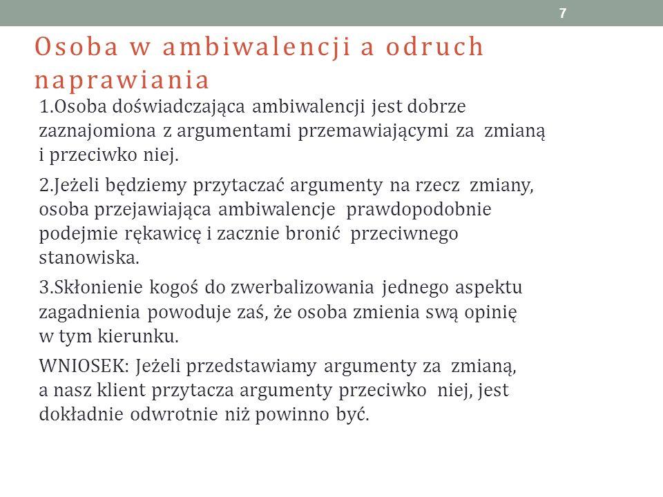 Osoba w ambiwalencji a odruch naprawiania 1.Osoba doświadczająca ambiwalencji jest dobrze zaznajomiona z argumentami przemawiającymi za zmianą i przec