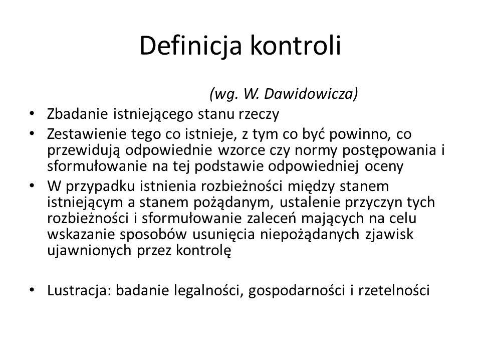 Definicja kontroli (wg. W.