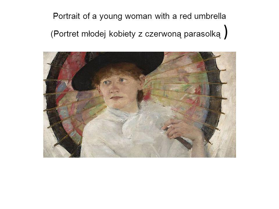 Portrait of a young woman with a red umbrella (Portret młodej kobiety z czerwoną parasolką )