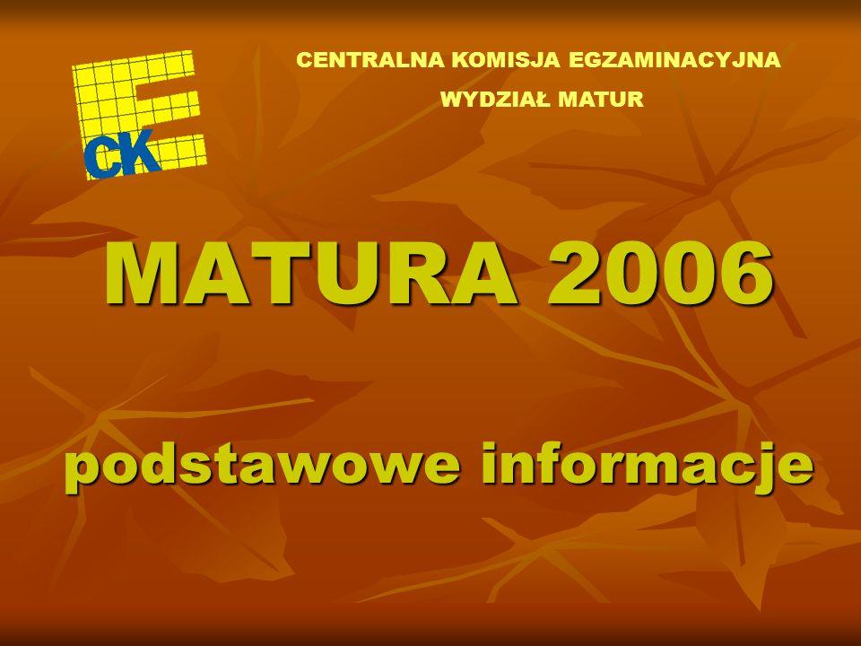 MATURA 2006 podstawowe informacje CENTRALNA KOMISJA EGZAMINACYJNA WYDZIAŁ MATUR