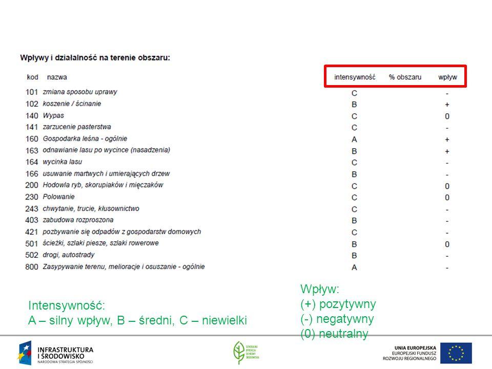 Intensywność: A – silny wpływ, B – średni, C – niewielki Wpływ: (+) pozytywny (-) negatywny (0) neutralny