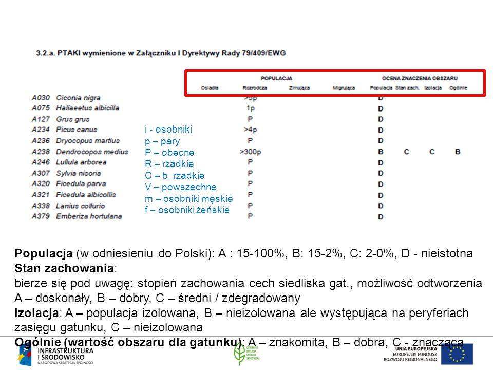 Populacja (w odniesieniu do Polski): A : 15-100%, B: 15-2%, C: 2-0%, D - nieistotna Stan zachowania: bierze się pod uwagę: stopień zachowania cech sie