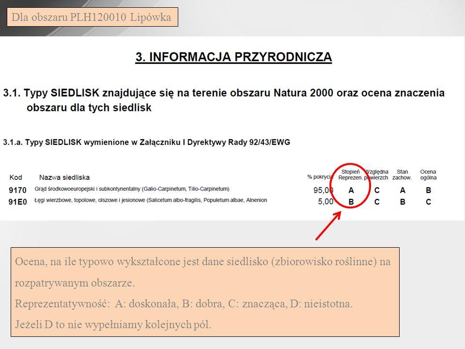Dla obszaru PLH120010 Lipówka Ocena, na ile typowo wykształcone jest dane siedlisko (zbiorowisko roślinne) na rozpatrywanym obszarze.