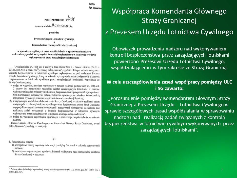Komenda Główna Straży Granicznej 7 Współpraca Komendanta Głównego Straży Granicznej z Prezesem Urzędu Lotnictwa Cywilnego Obowiązek prowadzenia nadzor