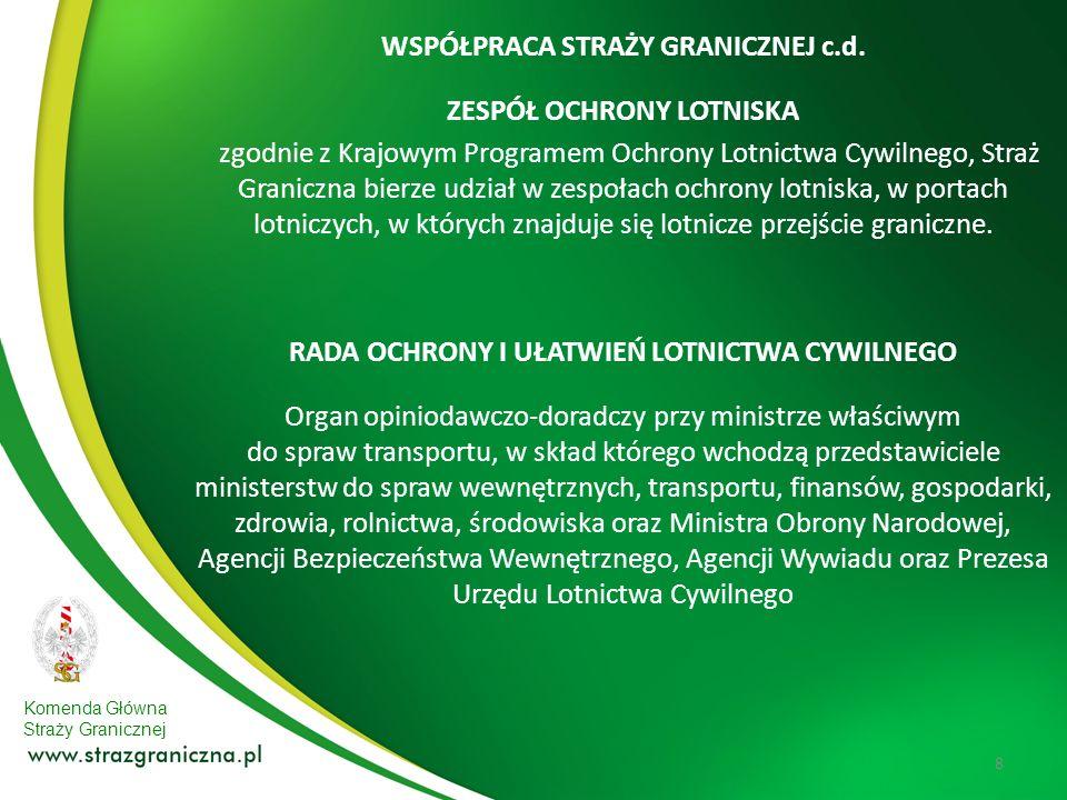 Komenda Główna Straży Granicznej 9 Wielopłaszczyznowa rola Straży Granicznej w systemie ochrony lotnictwa cywilnego 1.Stały nadzór nad kontrolą bezpieczeństwa w komunikacji lotniczej.
