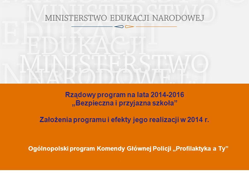 """Rządowy program na lata 2014-2016 """"Bezpieczna i przyjazna szkoła Założenia programu i efekty jego realizacji w 2014 r."""