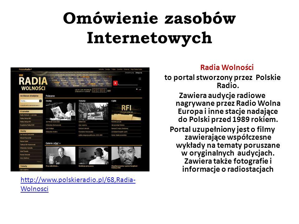 Omówienie zasobów Internetowych http://www.kronikarp.pl/ Kronika RP to strona, na której umieszczono materiały Polskiej Kroniki Filmowej, ułożone tematycznie i dokładnie opisane.