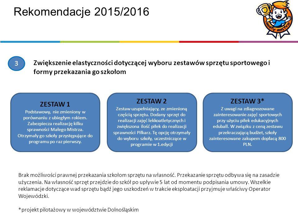 Rekomendacje 2015/2016 3 Zwiększenie elastyczności dotyczącej wyboru zestawów sprzętu sportowego i formy przekazania go szkołom ZESTAW 1 Podstawowy, nie zmieniony w porównaniu z ubiegłym rokiem.