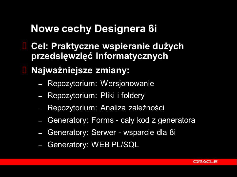 Nowe cechy Designera 6i  Cel: Praktyczne wspieranie dużych przedsięwzięć informatycznych  Najważniejsze zmiany: – Repozytorium: Wersjonowanie – Repo