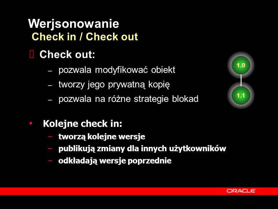 1.0 Kolejne check in: –tworzą kolejne wersje –publikują zmiany dla innych użytkowników –odkładają wersje poprzednie 1.1 1.0 Werjsonowanie Check in / C